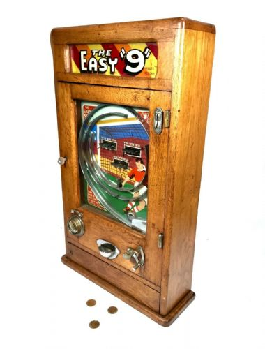 Antique Oak The Easy 9 Flip Ball / Pinball Arcade Penny Machine Game / Art Deco